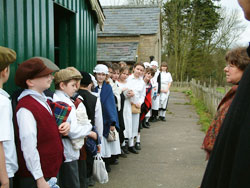 Great Cressingham Victorian School - Lining up